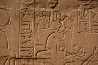 Hieroglyphics carved into a wall