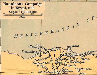 Map of Napoleon's campaign into Egypt